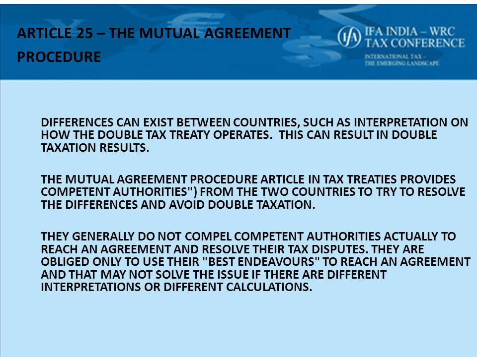 The united nations model treaty some thoughts ppt download article 25 the mutual agreement procedure sciox Gallery