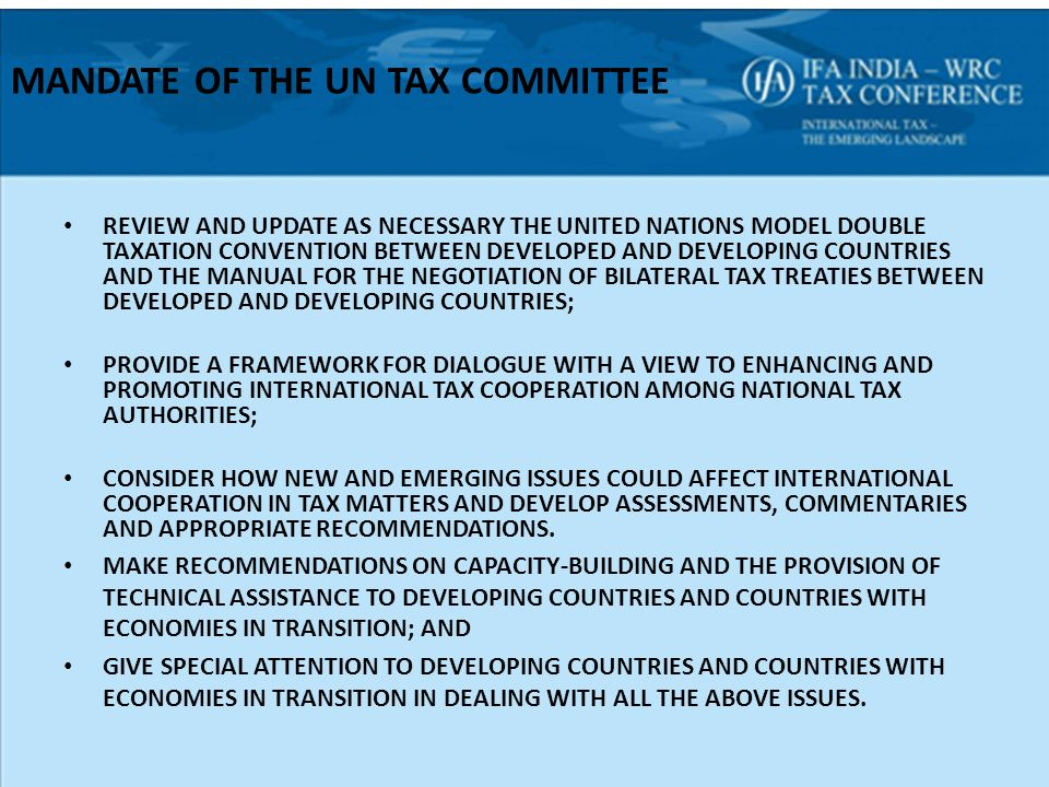 The united nations model treaty some thoughts ppt download mandate of the un tax committee sciox Gallery
