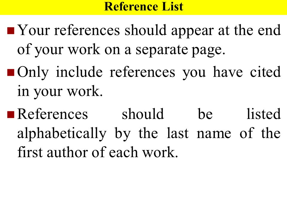 writing your reference list ppt