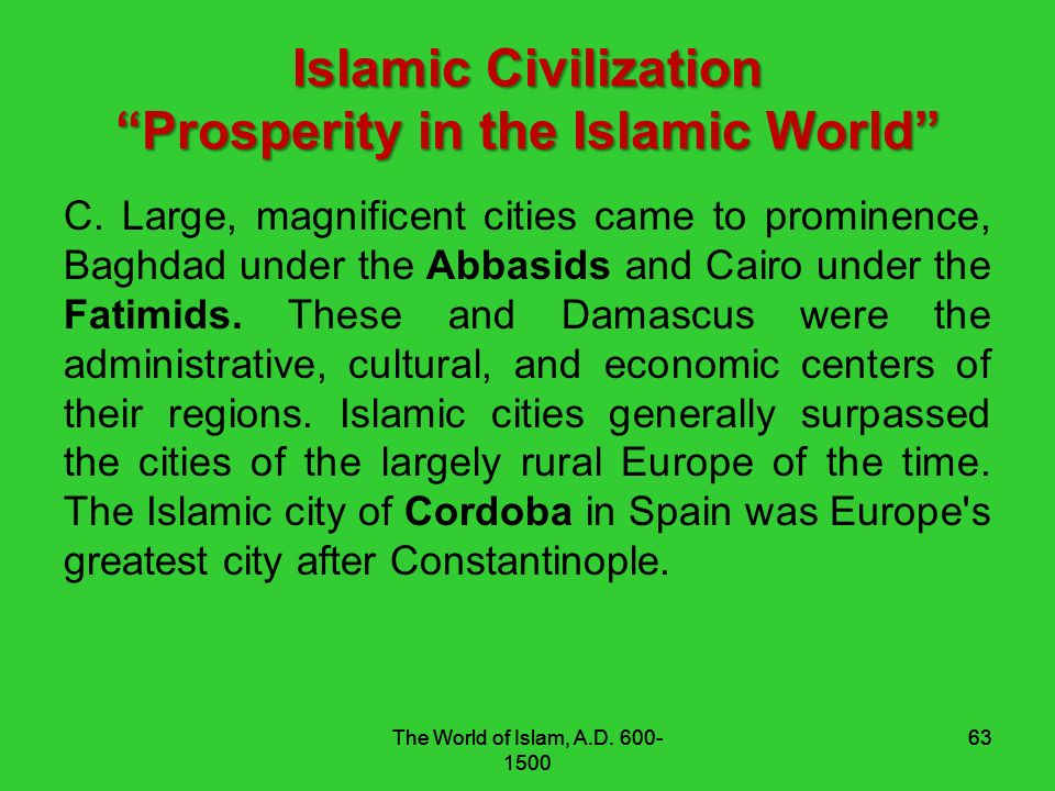 prosperity muslim Overview of the fall of muslim spain history essay  was and am fascinated by the heights in which the muslims reached but are far from today  lived in peace .