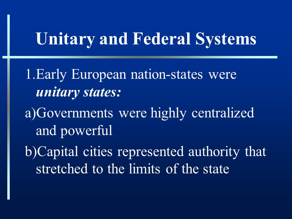 Federal and unitary systems of government Essay Sample