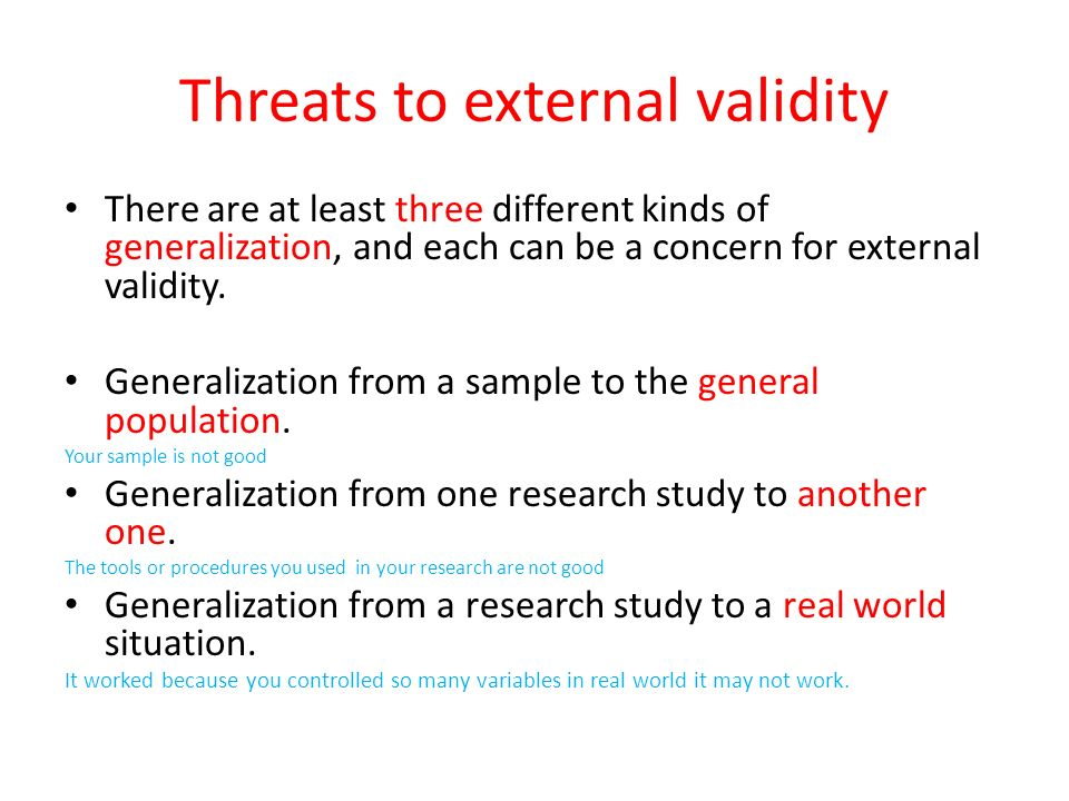 threats to research validity Learn about the different threats to internal validity.