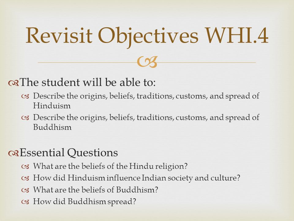 Revisit Objectives WHI.4