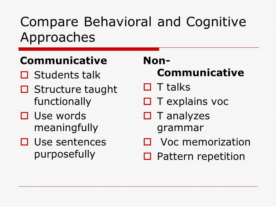 Compare Behavioral and Cognitive Approaches