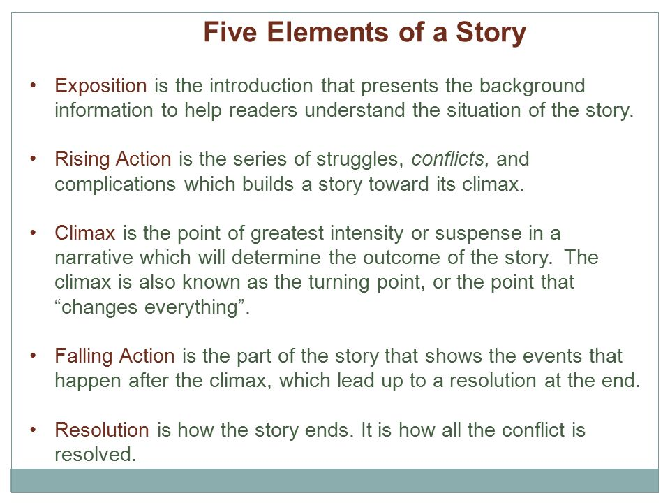 production story elements in the Briefly defined,the effects are varieties of interest felt by the reader of a short story the elements are those combinations of words which produce the effects.