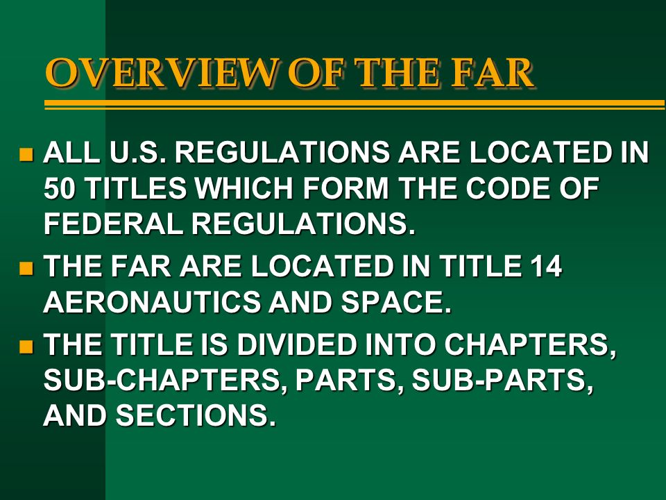 an introduction to the history of the federal aviation regulation Introduction ( pdf ) chapter 1: prologue ( pdf ) chapter 2: birth of faa ( pdf )  chapter 3: from agency to administration ( pdf ) chapter 4:.