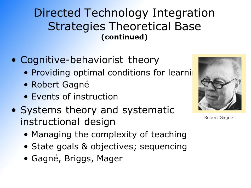 Directed Technology Integration Strategies Theoretical Base (continued)