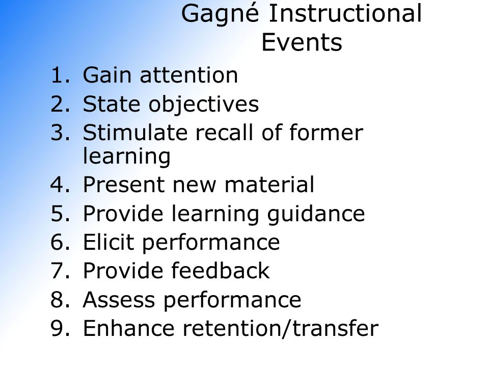 Gagné Instructional Events