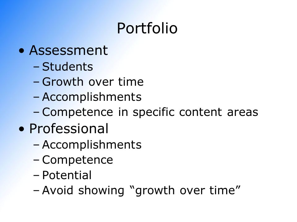 Portfolio Assessment Professional Students Growth over time