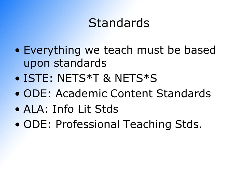 Standards Everything we teach must be based upon standards
