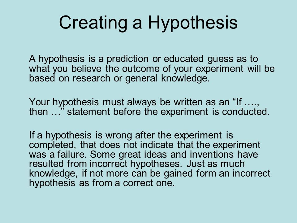 hypothesis and prediction examples A hypothesis is a prediction of the outcome of a test it forms the basis for designing an experiment in the scientific method a good hypothesis is testable, meaning.