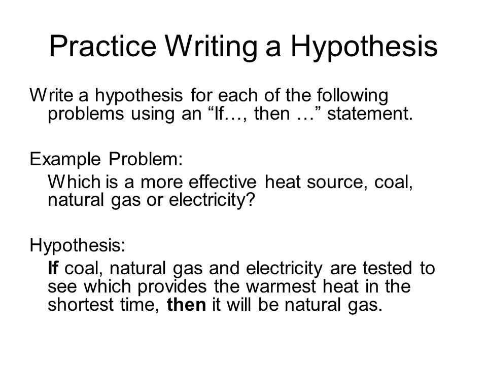 hypothesis writing Hypothesis: (noun) a supposition or proposed explanation made on the basis of limited evidence as a starting point for further investigation yikes that sounds pretty serious (and a little intimidating too) don't let it scare you, though in simpler terms, a hypothesis is an idea of what you think will happen in.