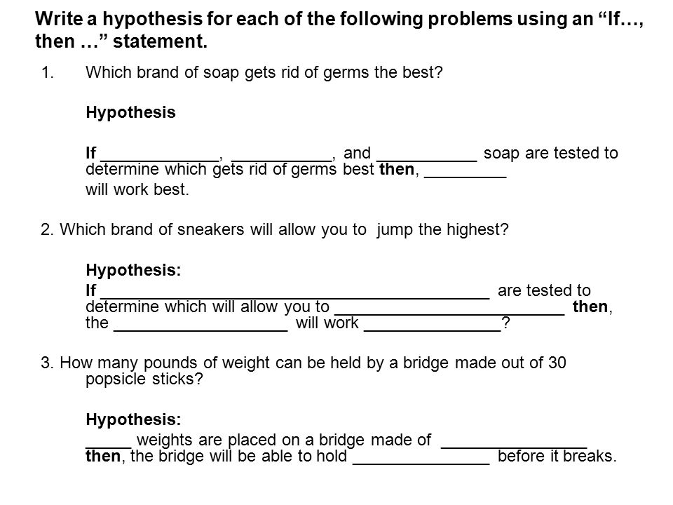 how to write a proper hypothesis
