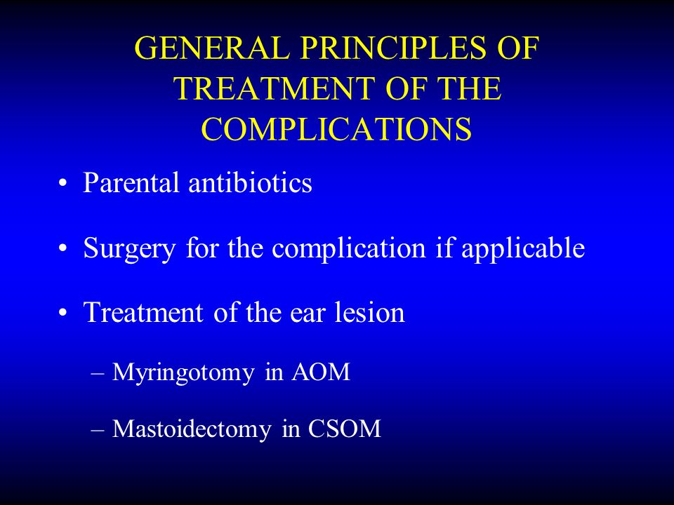 GENERAL PRINCIPLES OF TREATMENT OF THE COMPLICATIONS