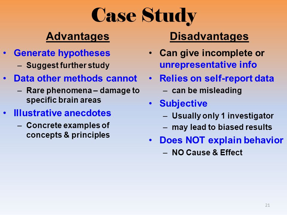 case studies in psychology advantages and disadvantages The strengths and weaknesses of case studies the father of psychology, was often biased in his case histories and advantages and disadvantages in real.