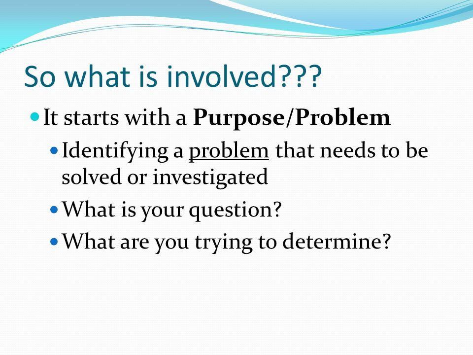 So what is involved It starts with a Purpose/Problem