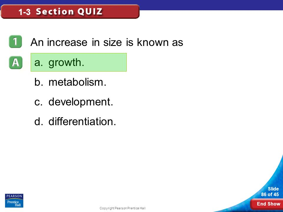 An increase in size is known as growth. metabolism. development.