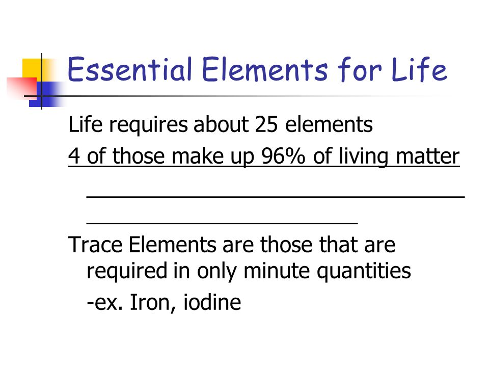 Essential Elements for Life