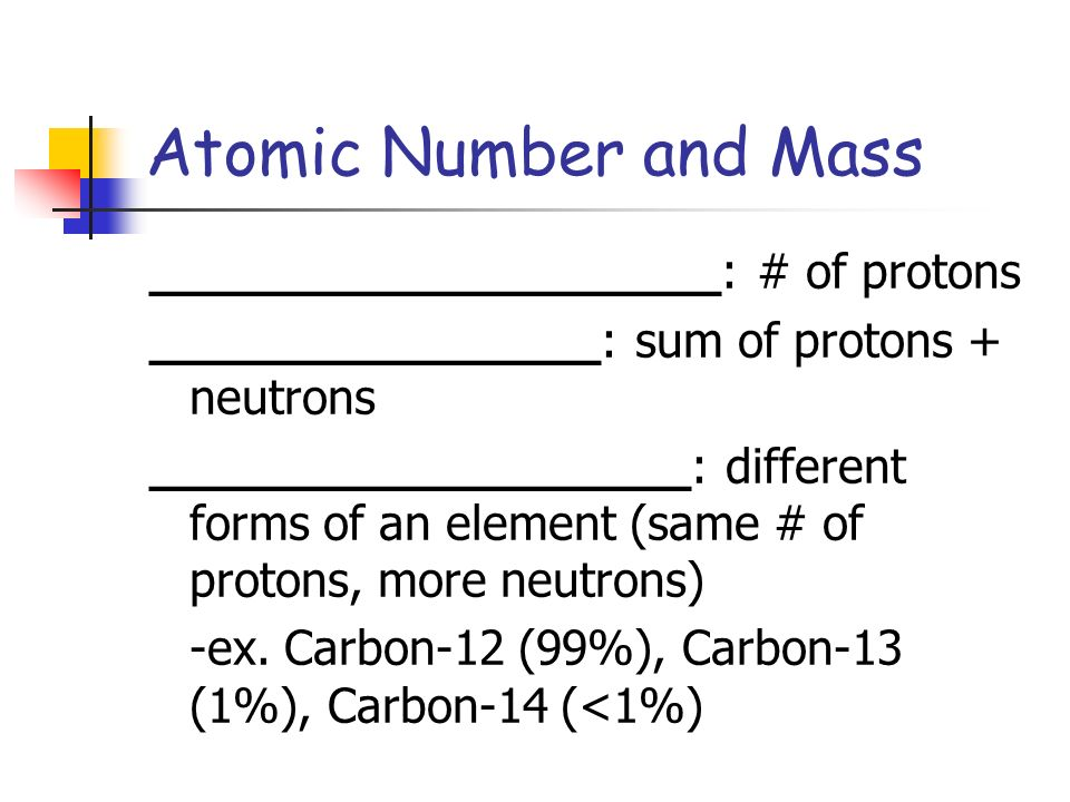 Atomic Number and Mass ___________________: # of protons