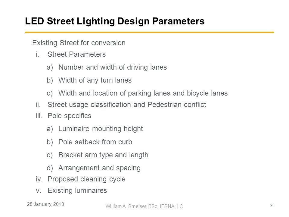 LED Street Lighting Design Parameters
