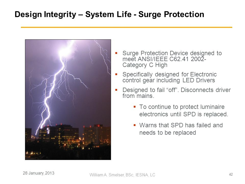Design Integrity – System Life - Surge Protection