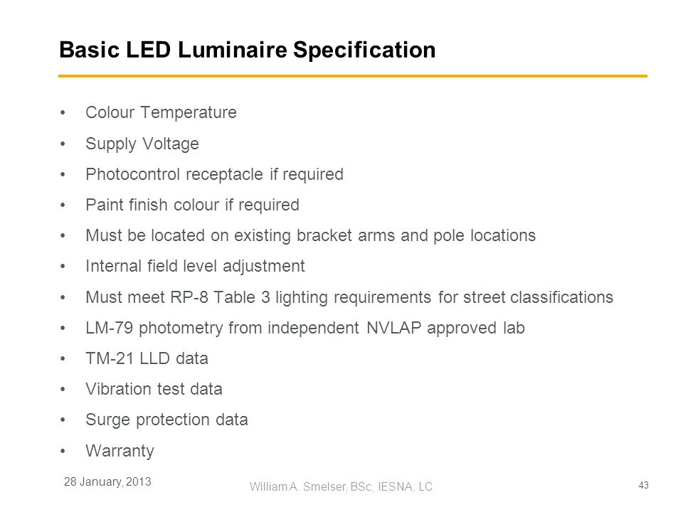 Basic LED Luminaire Specification