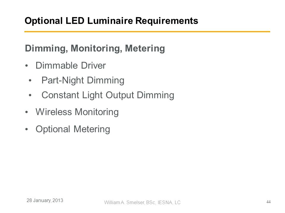 Optional LED Luminaire Requirements