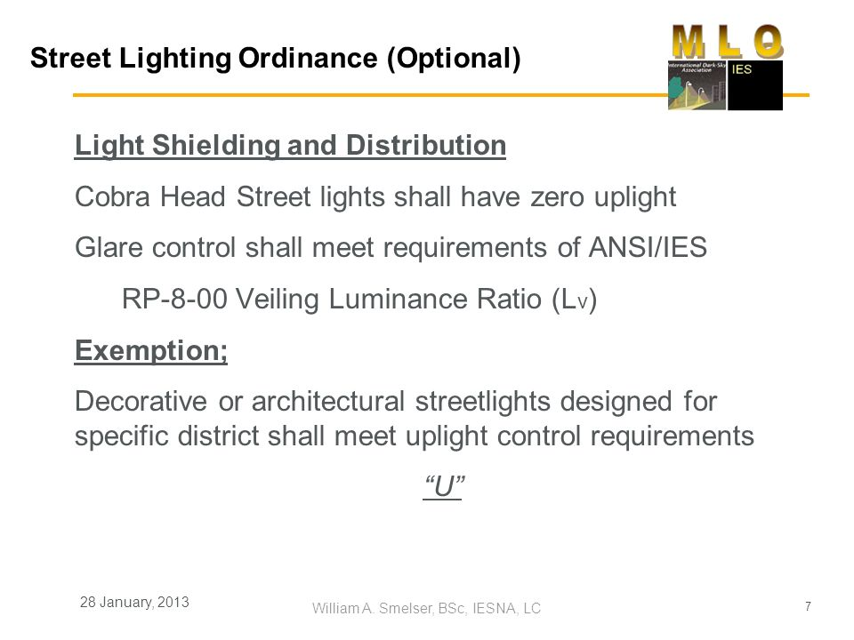 Street Lighting Ordinance (Optional)