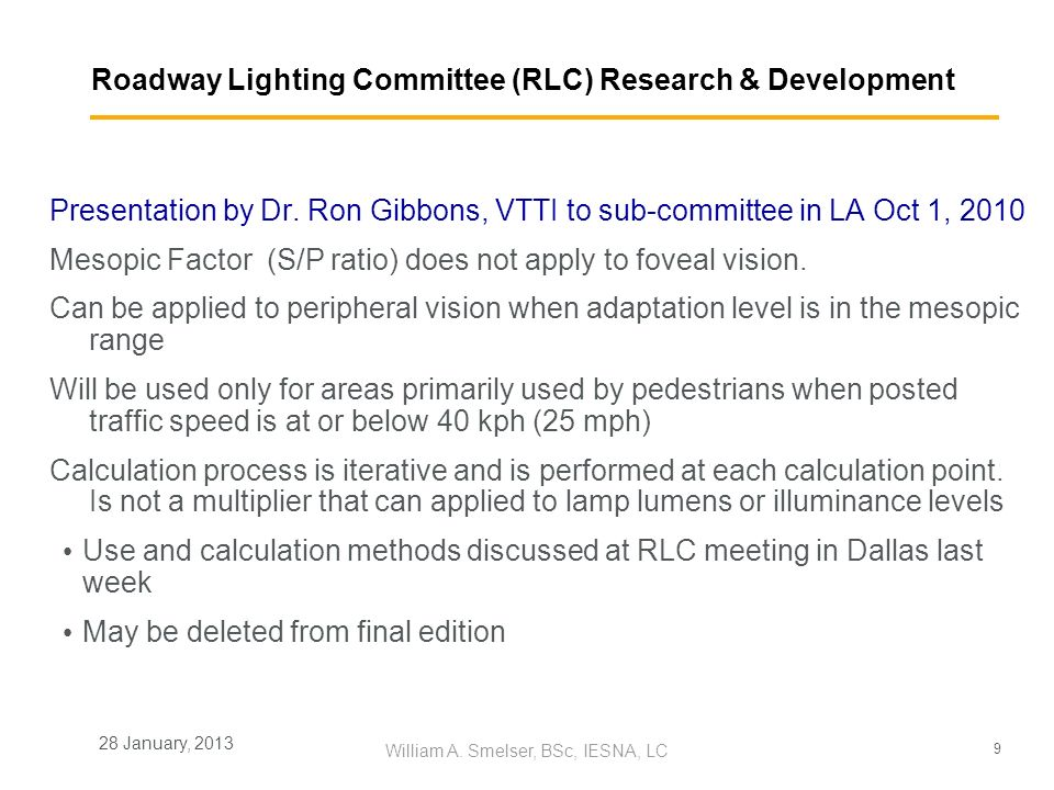 Roadway Lighting Committee (RLC) Research & Development