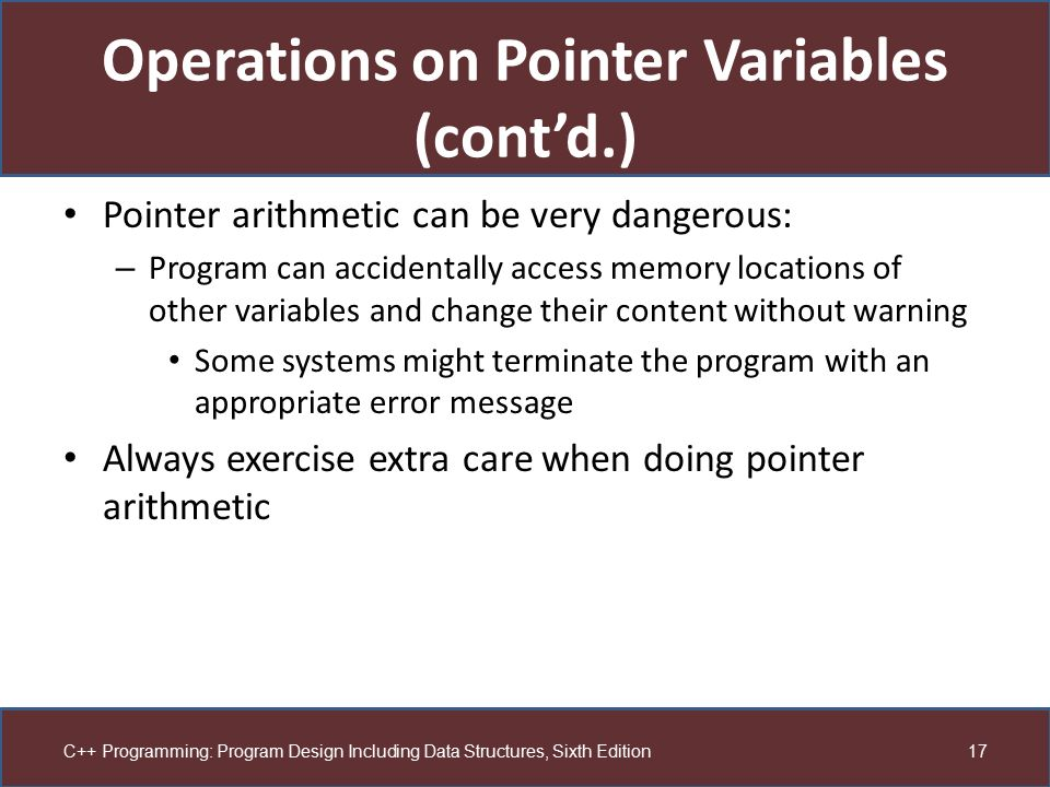 Operations on Pointer Variables (cont'd.)
