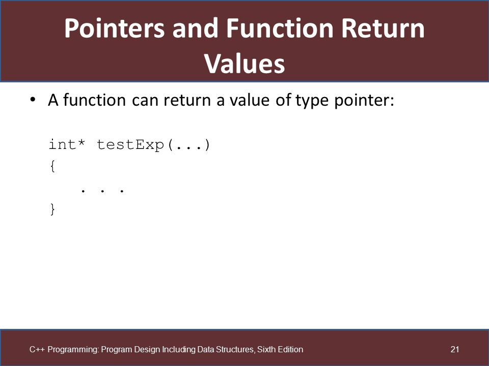 Pointers and Function Return Values