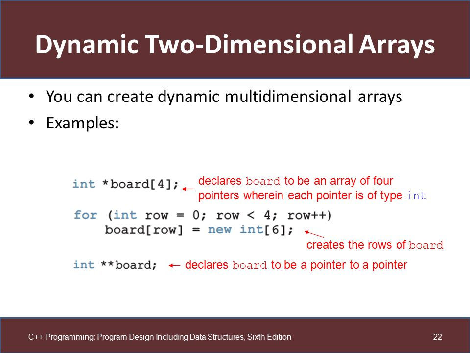 Dynamic Two-Dimensional Arrays