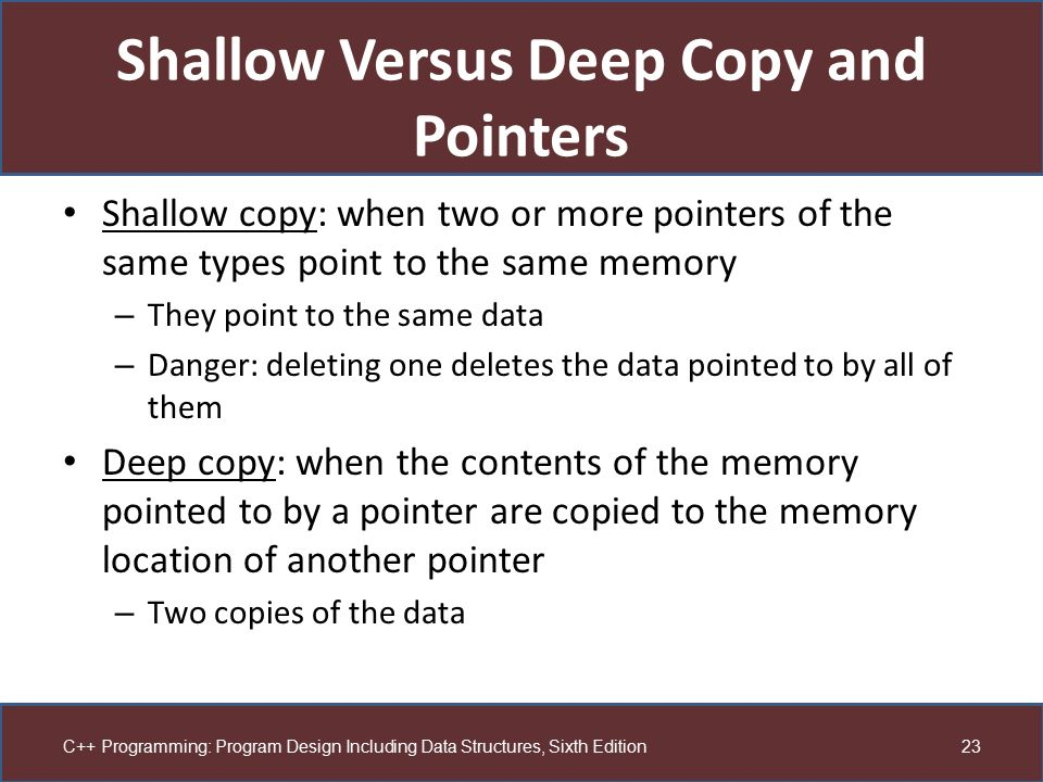 Shallow Versus Deep Copy and Pointers