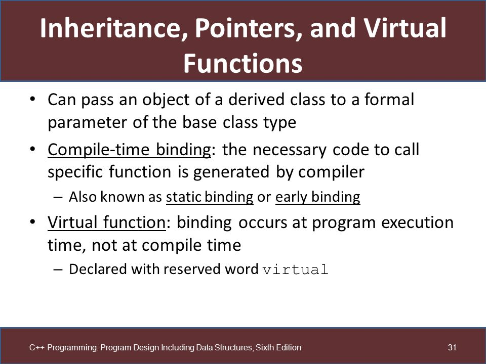 Inheritance, Pointers, and Virtual Functions