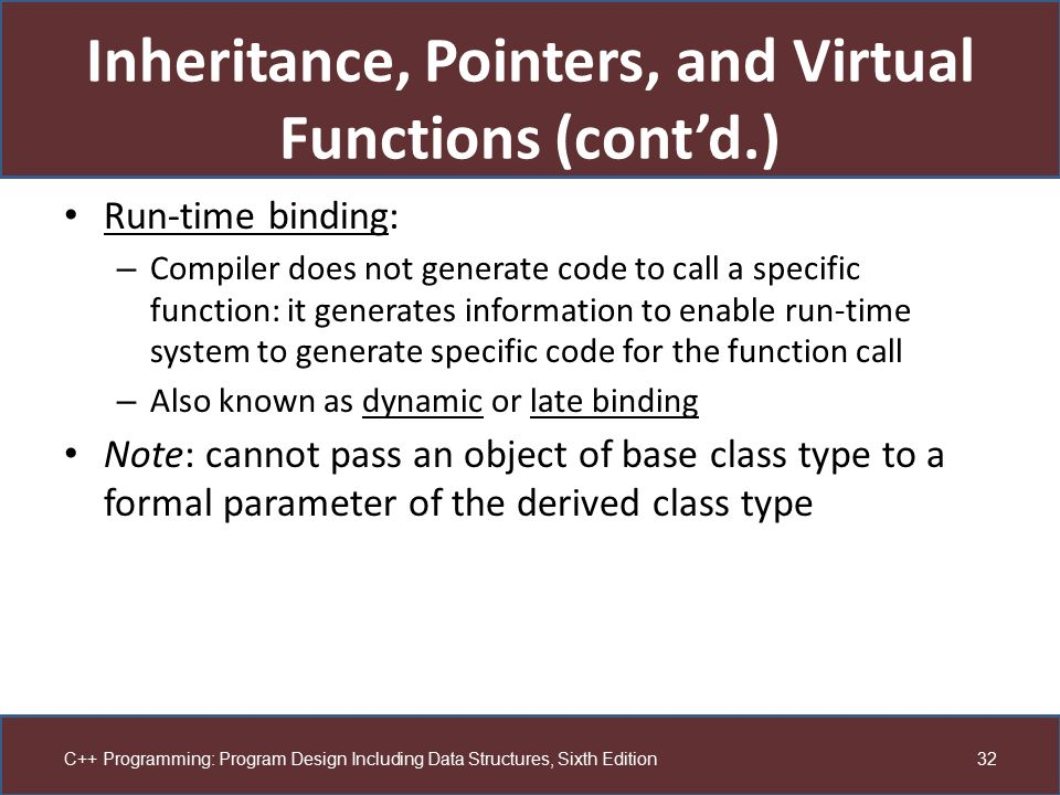 Inheritance, Pointers, and Virtual Functions (cont'd.)