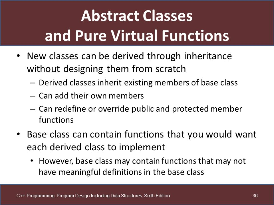 Abstract Classes and Pure Virtual Functions