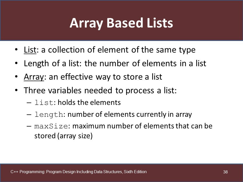 Array Based Lists List: a collection of element of the same type