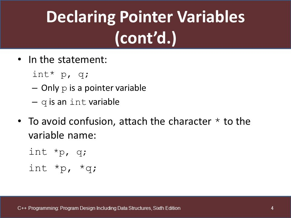 Declaring Pointer Variables (cont'd.)