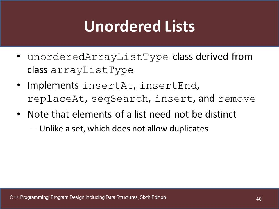 Unordered Lists unorderedArrayListType class derived from class arrayListType.