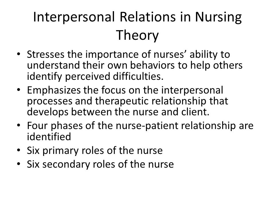 identify the nurse patient relationship nursing essay Barbara carper, a professor at the college of nursing at texas woman's university, wrote an essay in 1978 titled the fundamental patterns of knowing in nursing, that has identified four ways of knowing that nurses apply to meet patients' needs.