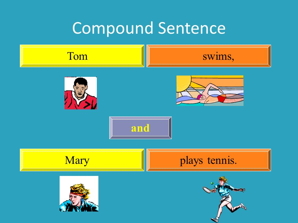Compound Sentence Tom swims, and Mary plays tennis.