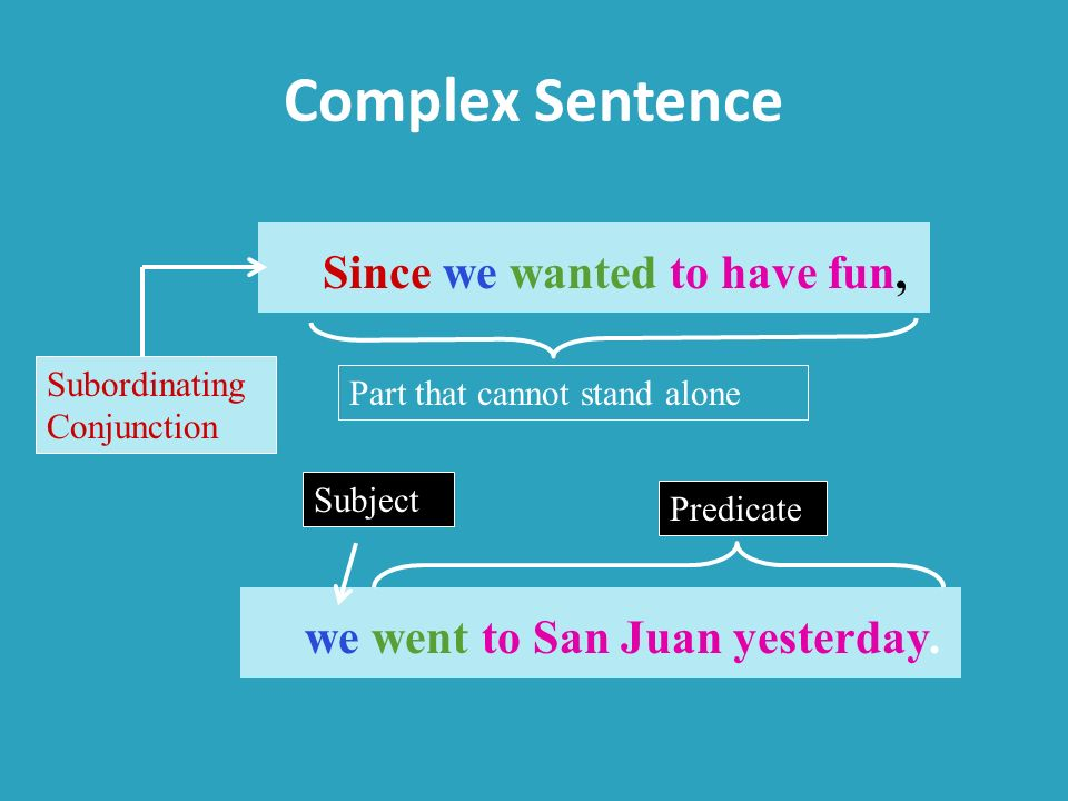 Complex Sentence Since we wanted to have fun,