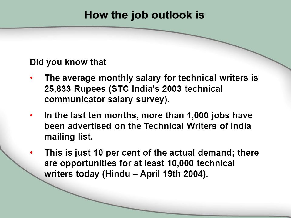 technical writing salaries