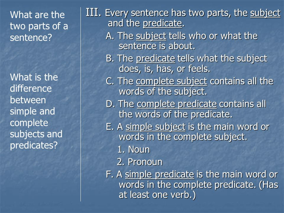 III. Every sentence has two parts, the subject and the predicate.