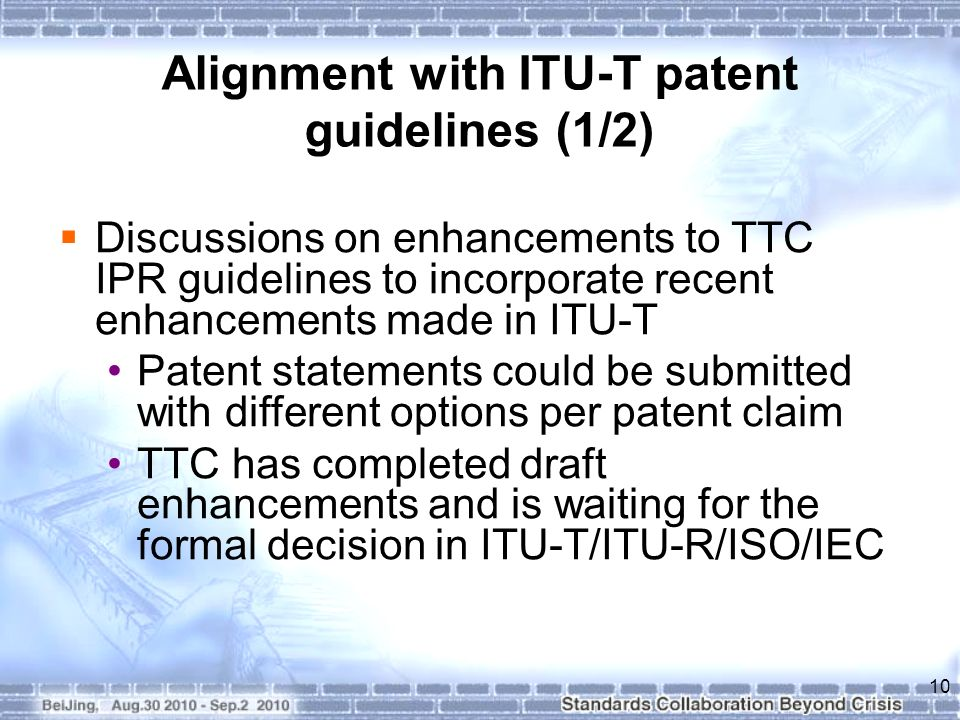 Alignment with ITU-T patent guidelines (1/2)