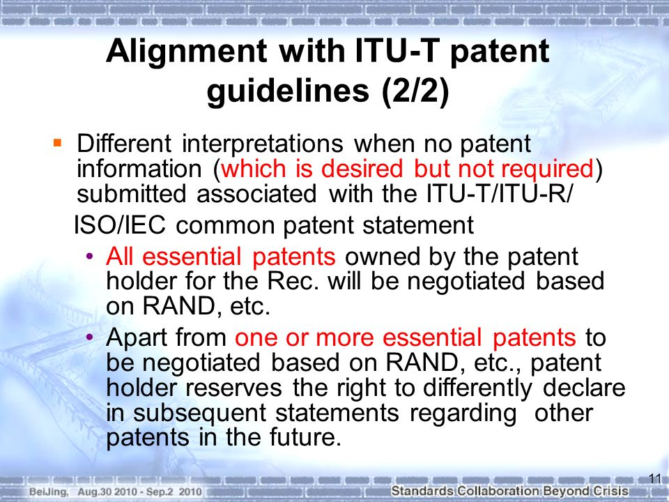 Alignment with ITU-T patent guidelines (2/2)