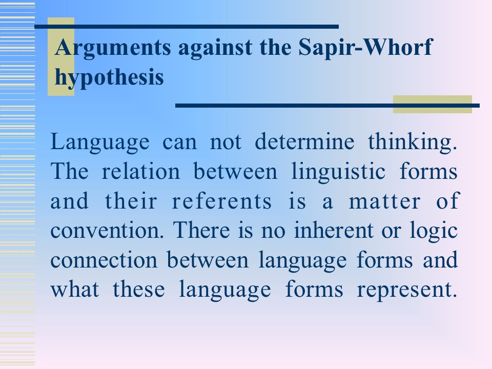 sapir and whorf language thought relationship
