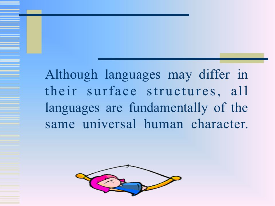 Although languages may differ in their surface structures, all languages are fundamentally of the same universal human character.