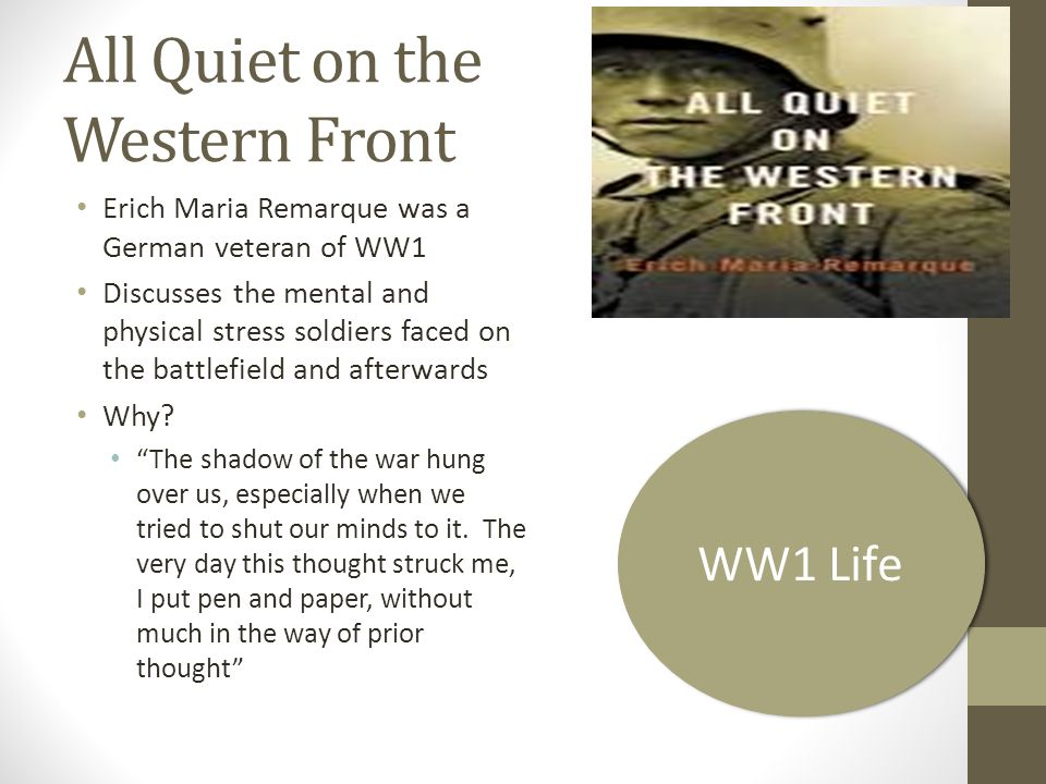 an analysis of authors view of human behavior in the works of all quiet on the western front by eric Cliffsnotes is the original (and most widely imitated) study guide cliffsnotes study guides are written by real teachers and professors, so no matter what you're studying, cliffsnotes can ease your homework headaches and help you score high on exams founded in 1958 by clifton keith hillegass, cliffsnotes is the original company that produced study guides and book summaries ranging from.