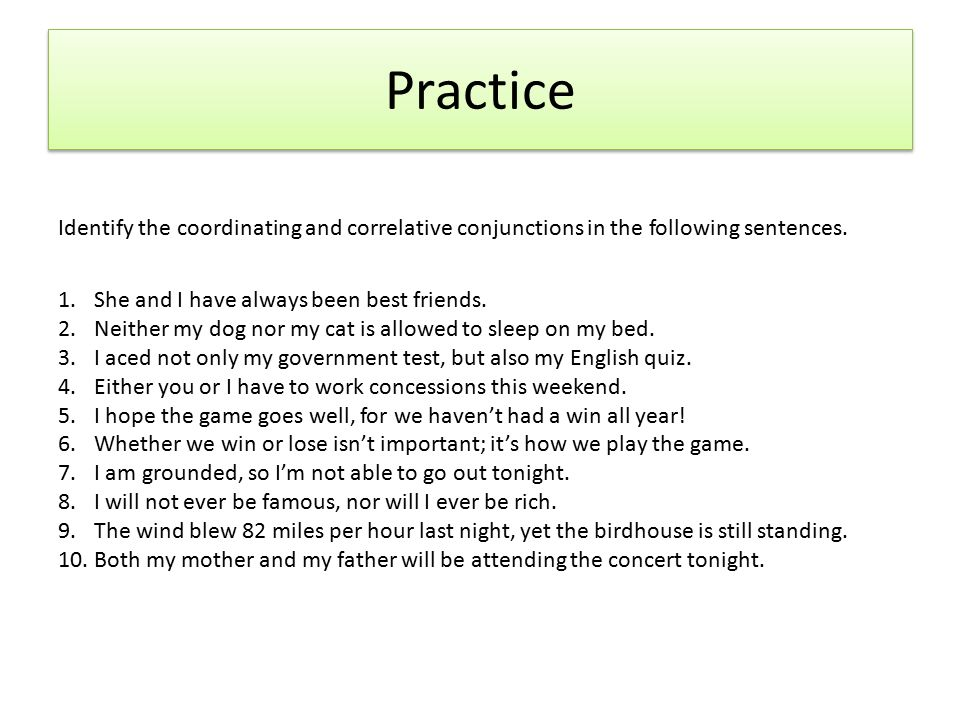 coordinating and correlative conjunctions worksheets pdf